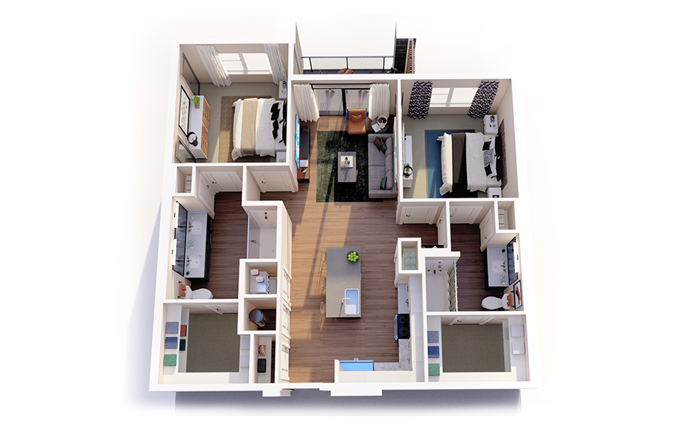 B1 - 2 bedroom floorplan layout with 2 baths and 1048 square feet.