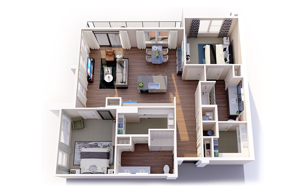 B2 - 2 bedroom floorplan layout with 2 baths and 1257 square feet.