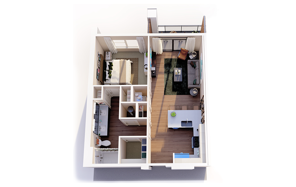 A1 - 1 bedroom floorplan layout with 1 bath and 674 square feet.