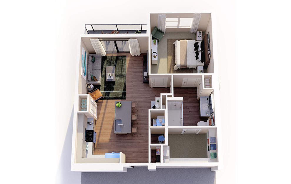 A2 - 1 bedroom floorplan layout with 1 bath and 760 square feet.