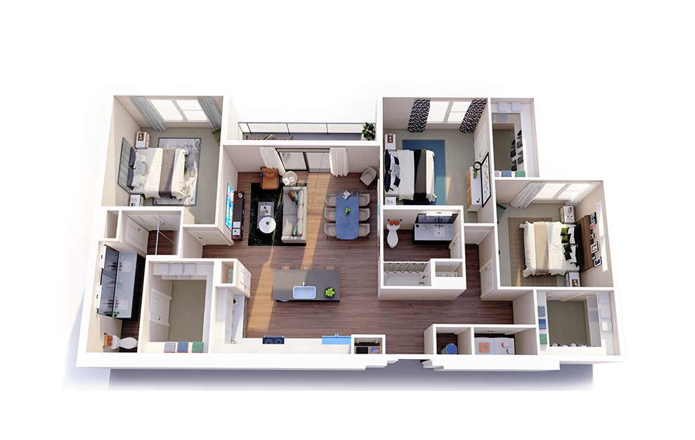 C1 - 3 bedroom floorplan layout with 2 baths and 1491 square feet.